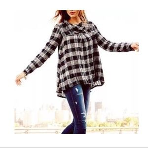 $128 Free People Walk In The Park Cowl Neck Plaid